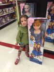 Molly and a 3-foot Anna (from Frozen) doll